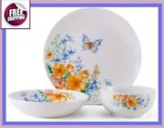 Set Dinnerware 18 Pcs Dishes Plate Bowl Vintage Classic Butterfly Floral New