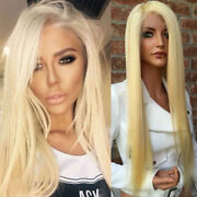 Blonde Peruvian Human Hair Wig 123 Transparent Swiss Lace Front Straight Wigs H