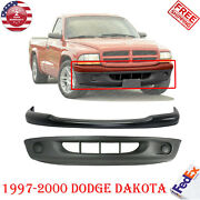 Front Bumper Painted Black + Lower Cover Textured For 1997-2000 Dodge Dakota