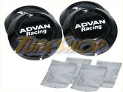 4 Advan Black Low Type 73mm Wheels Center Caps Rz Rs Rg Tc Rc Tc-ii Tc-iii Rt