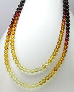 Natural Genuine Baltic Amber Beads Necklace 60 Long Pr 30 Double Strand Rare