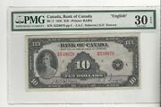 1935 Bank Of Canada Bc-7, 10 Osb/tow Sn A539076 Pmg Vf-30 Epq