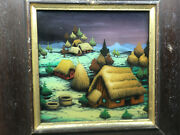 Framed Picture Art Painting On Glass Thatched Roof Houses Proch A 1987 Help