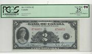 1935 Bank Of Canada 2 English, Osb / Towers Bc-3 Sn A 746072 Pcgs Vf-25 App.