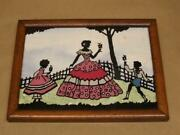 Vintage Reverse Silhouette Picture Woman 2 Children Pink Blue Real Milkweed 8