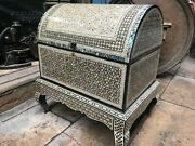 M53 Egyptian Wood Jewelry Box Inlaid Mother Of Pearl Handmade 60 X 57 X 47 Cm