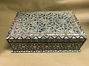 M56 Egyptian Wood Jewelry Box Inlaid Mother Of Pearl Handmade 38 X 25 X 11 Cm