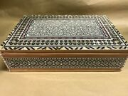 M56 Egyptian Wood Jewelry Box Inlaid Mother Of Pearl Handmade 37 X 24 X 10 Cm