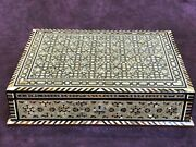 M56 Egyptian Wood Jewelry Box Inlaid Mother Of Pearl Handmade 43 X 32 X 10 Cm