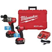 Milwaukee 2-piece M18 Fuel Hammer Drill And Impact Driver One-key Combo W/ 2 B