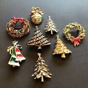 Vintage Jewelry Estate Lot Christmas Pins Brooches Gerry's Beatrix Art 8 Total