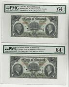 1935 Bank Of Montreal 5 Note Cat 505-60-02 Sn 449457 And 58 Pmg Ms-64 Epq Pair