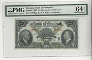 1935 Bank Of Montreal 5 Note Cat 505-60-02 Sn 449457 And 58 Pmg Ms-64 Epq