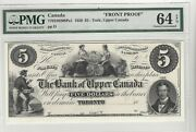 1859 Bankf Upper Canada York 5 Note Cat770-22-02-08pa1 Front Proof Pmg Ms-64