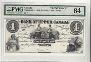 1859 Bank Upper Canada, York 4 Note Cat770-22-02-06pa1 Front Proof Pmg Ms-64
