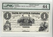 1859 Bank Upper Canada York 4 Note Cat770-22-02-06pa1 Front Proof Pmg Ms-64