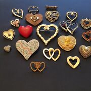 Vintage Jewelry Estate Lot Heart Shaped Valentines Day Brooches Pins