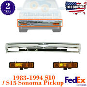 Front Bumper Chrome + Signal Lights For 1983-1994 S10 S15 Sonoma Pickup