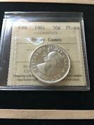 1961iccs Graded Canadian Silver 50 Cent Pl-66 Heavy Cameo