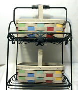 Longaberger Wrought Iron 2 Tier Stand And 2 Fun Weave Colorful Baskets New