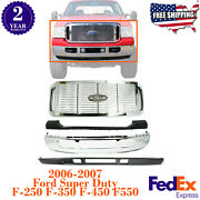 Front Chrome Steel Bumper Covers Grille For 2005-07 Ford Super Duty F250 F350