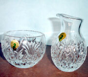 Waterford Pineapple Hospitality Open Sugar Bowl And Creamer Cut Crystal New In Box