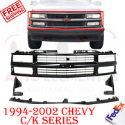 Front Grille + Bumper Filler Center + Extensions For 1994-2002 Chevy C/k Pickup