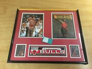 Vintage Michael Air Jordan Autographed Memorabilia Display Fleer Upper Deck Card