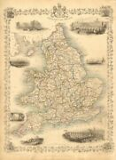 England And Wales. London Newcastle Doncaster Races Views. Tallis/rapkin 1851 Map