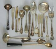 Lot Of 17 Silverplate Serving Pieces Serving Spoons Meat Fork Ladle Jelly 8a