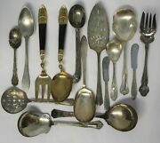 Lot Of 15 Silverplate Serving Pieces Ice Cream Vegetable Spoons Thai Set 1b