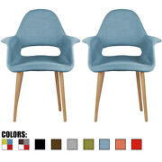 Set Of 2 Modern Vintage Antique Organic Accent Chair Natural Wood Legs Open Back