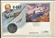 Guernsey 1994 Two Pounds 50th Anniversary Large Size Coin With First Day Cover