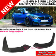 M Performance Style Left Right Lip Splitters For 15-20 Bmw M4 M3 F80 F82 F83