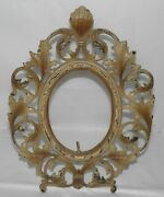Antique Victorian Casr Iron Oval Ornate Picture Frame Easel Style W/ Seashell
