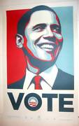 Obama Vote Presidential Election Art Print Poster Shepard Fairey Rare Signed