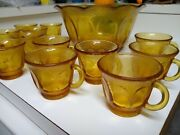 Indiana Glass Amber Carnival Punch Bowl And 12 Cups Sets