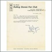 Rolling Stones Bill Wyman Signed Toronto Backstage Pass Letter Canada