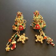 Wonderful Signed Estate Lunch At The Ritz Latr 2go Usa Christmas Tree Earrings