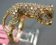 Large 1.16ct Diamond And Aaa Tsavorite 18kt Rose Gold Happy Panther Tiger Fun Ring