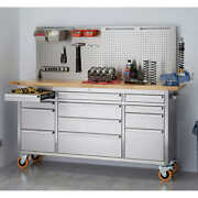 Trinity 72 Stainless Steel Workbench With Pegboard