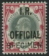 Sgo24var 1902 1s Green And Carmine Inland R. Offical Superb Unused O.g. Example