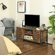 Tv Stand Tv Console Unit With Shelves Cabinet With Storage Louvered Door Ltv43bx
