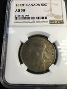 1872h Ngc Graded Canadian Silver 50 Cent Au-58