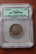 1876h Icg Graded Canadian Large One Cent Ms-65