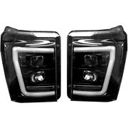 Recon Smoked Projector Headlights With Oled U-bar For 2011-2016 Ford Super Duty