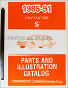 1991 Geo Prizm Master Parts Book Illustrated Chevy Catalog Wtih Part Numbers