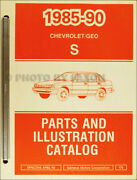 1989-1990 Geo Prizm Master Parts Book Illustrated Chevy Catalog With Part Number