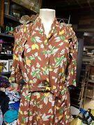Vintage 40and039s Rayon Foral Print Dress Wwii Era Historic Dress 38 Bust 32 W 46l