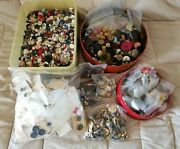 Huge Lot Of Mixed Buttons Antique Vintage Modern Glass Shell Metal 14 Lbs